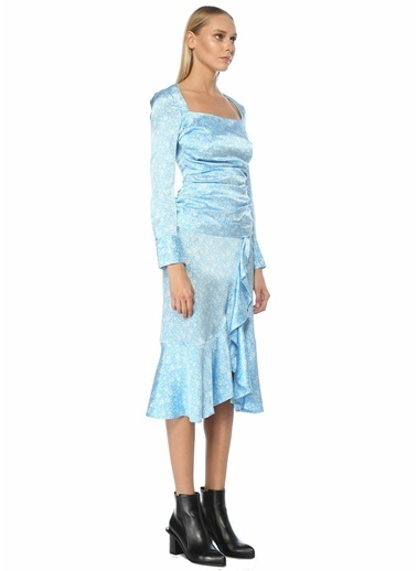 Ganni Ganni  Çiçek Desenli İpek Bluz 101554831 Mavi